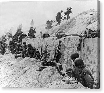 Trenches Canvas Print - American Troops At Utah Beach by Underwood Archives