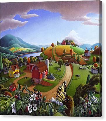 Americana Decor - Blackberry Patch Country Farm Life Landscape - Square Format Canvas Print