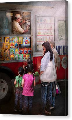 Americana - Vendor - Serving Chocolate Ice Cream Canvas Print by Mike Savad