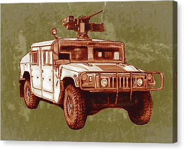 American's New Army Car - Hummer Stylised Art Sketch Poster Canvas Print by Kim Wang