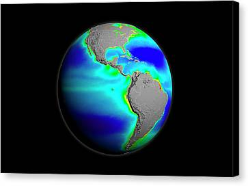 Worldwide Canvas Print - Americas Phytoplankton Levels by Nasa/gsfc-svs/seawifs/geoeye