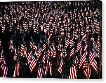 Canvas Print featuring the photograph Field Of Flags - Sturbridge Mass. by Jacqueline M Lewis