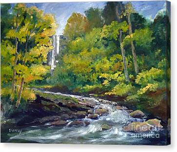 Amicalola Falls Painting Canvas Print by Sally Simon