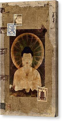 Amida Buddha Postcard Collage Canvas Print by Carol Leigh