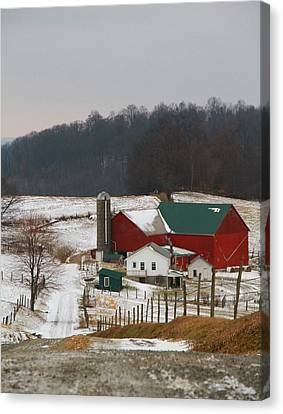 Amish Barn In Winter Canvas Print by Dan Sproul