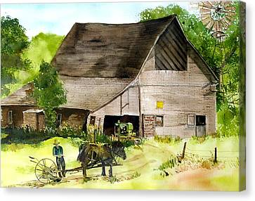 Canvas Print featuring the painting Amish Barn by Susan Crossman Buscho