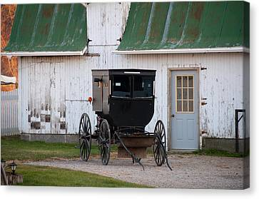 Amish Buggy White Barn Canvas Print