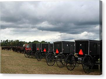 Canvas Print featuring the photograph Amish Car Park by Debra Kaye McKrill