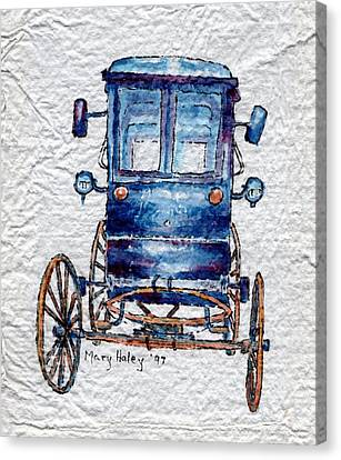 Canvas Print featuring the painting Amish Cart by Mary Haley-Rocks