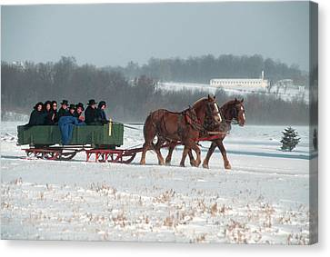 Mennonite Canvas Print - Amish Family Riding In Horse Drawn by Vintage Images