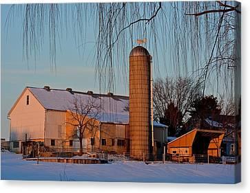 Amish Farm At Turquoise Dusk Canvas Print