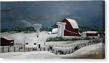 Canvas Print featuring the painting Amish Farm - Winter - Michigan by Jan Dappen