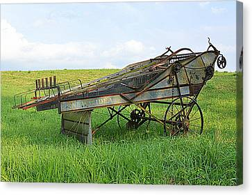 Amish Harvester Canvas Print by Joel E Blyler