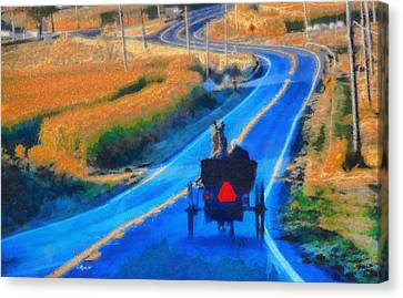 Amish Horse And Buggy In Autumn Canvas Print by Dan Sproul