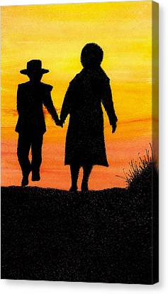 Amish Mother And Son Canvas Print by Michael Vigliotti
