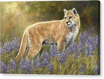 Among The Flowers Canvas Print by Lucie Bilodeau