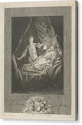 Amor And Psyche, Theodorus De Roode Canvas Print by Theodorus De Roode