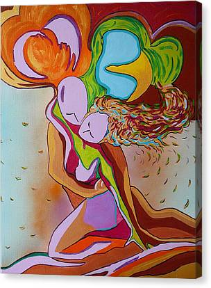 Canvas Print featuring the painting Amore E Psiche by Gioia Albano