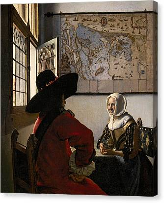 Amorous Couple Canvas Print by Jan Vermeer