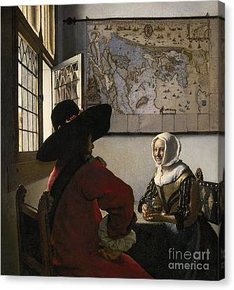 Chat Canvas Print - Amorous Couple by Vermeer