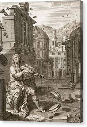 Amphion Builds The Walls Of Thebes Canvas Print by Bernard Picart