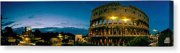 Amphitheater At Dusk, Coliseum, Rome Canvas Print by Panoramic Images