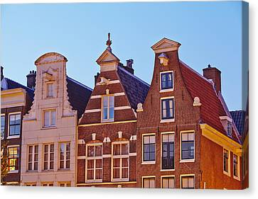 Amsterdam - Gables Of Old Houses At The Keizersgracht In The Evening Canvas Print by Olaf Schulz