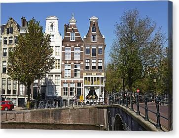 Amsterdam - Old Houses At The Keizersgracht Canvas Print by Olaf Schulz