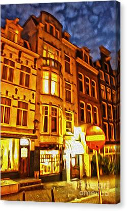 Amsterdam By Night - 01 Canvas Print by Gregory Dyer
