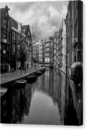 Row Boat Canvas Print - Amsterdam Canal by Heather Applegate