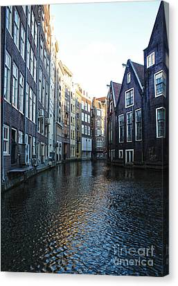 Amsterdam Canal View - 01 Canvas Print by Gregory Dyer