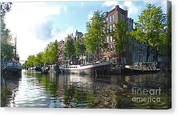 Amsterdam Canal View - 03 Canvas Print by Gregory Dyer