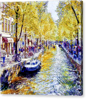 Amsterdam Canal Watercolor Canvas Print by Marian Voicu