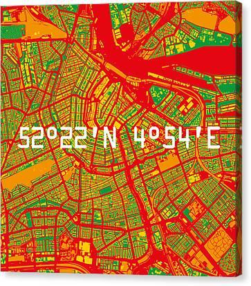 Amsterdam Map Canvas Print by Big City Artwork