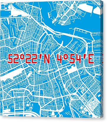 Nederland Canvas Print - Amsterdam Map Blue by Big City Artwork