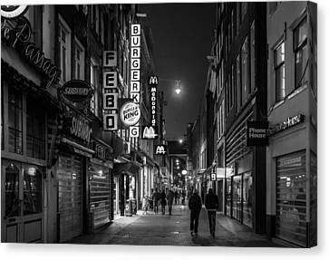 Amsterdam Street At Night Canvas Print