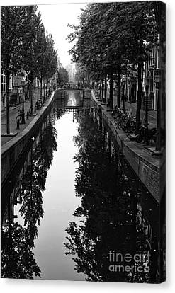 Amsterdam Trees In The Canal 2014 Canvas Print by John Rizzuto