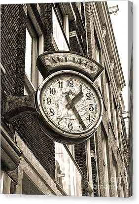 Amsterdam Vintage Deco Clock Sign In Sepia Canvas Print by Gregory Dyer