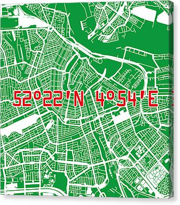 Amsterdam Map Green Canvas Print by Big City Artwork