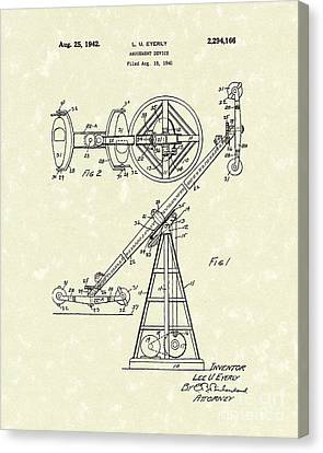 Amusement Device 1942 Patent Art Canvas Print by Prior Art Design