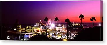 Amusement Park Lit Up At Night, Santa Canvas Print by Panoramic Images