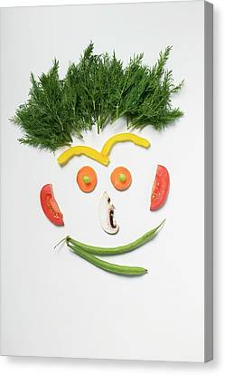 Button Mushrooms Canvas Print - Amusing Face Made From Vegetables, Rosemary And Mushroom by Foodcollection