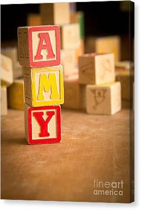 Amy - Alphabet Blocks Canvas Print by Edward Fielding