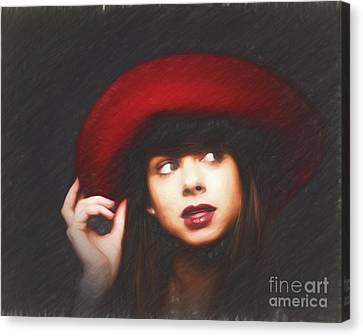 Amy And The Red Hat  ... Canvas Print by Chuck Caramella