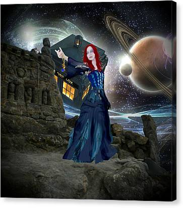 Amy And The Tardis Canvas Print by Digital Art Cafe