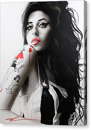 Amy Winehouse - ' Amy ' Canvas Print by Christian Chapman Art