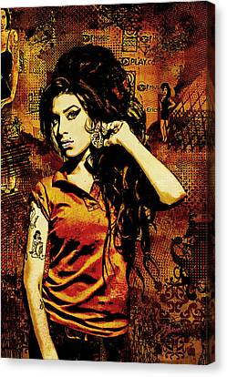 Amy Winehouse 24x36 Mm Reg Canvas Print by Dancin Artworks