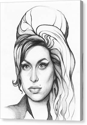 Amy Winehouse Canvas Print by Olga Shvartsur