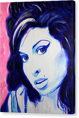Canvas Print featuring the painting Amy Winehouse Pop Art Painting by Bob Baker