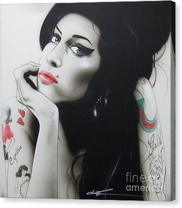 Amy Winehouse - ' Amy Your Music Will Echo Forever ' Canvas Print by Christian Chapman Art